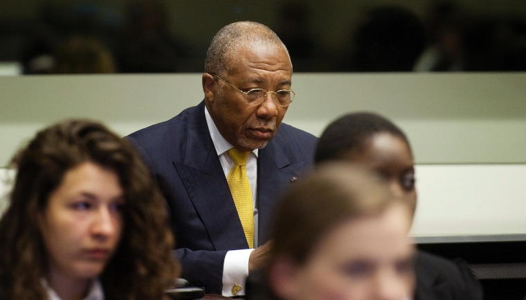 Former Liberian President Charles Taylor waits for the start of his sentencing judgement in the courtroom of the Special Court for Sierra Leone(SCSL) in Leidschendam, near The Hague, Netherlands.
