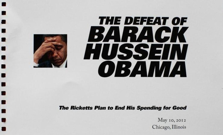 The front page of the Character Matters PAC's proposal for a five-minute film criticizing the President.