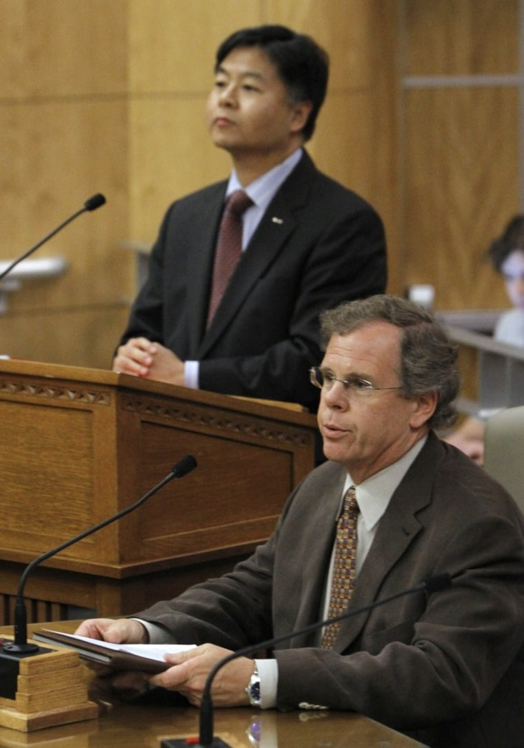 Attorney Peter Drake, executive director of the Coming Out Into Light Foundation, speaks about his negative experiences with conversion therapy, while testifying in favor of a bill to ban the therapy during a hearing in Sacramento, Calif. The bill,...