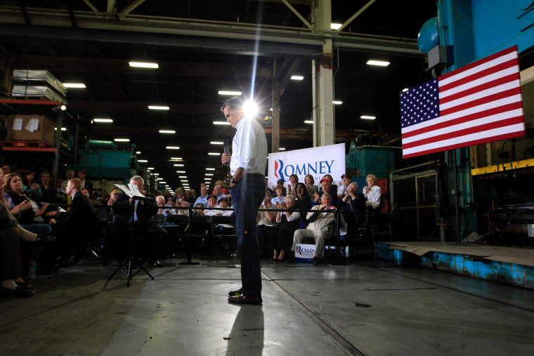 Mitt Romney speaks at a town hall-style meeting in Euclid, Ohio, Monday, May 7, 2012.