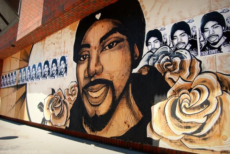 An Oscar Grant III mural in Oakland, CA.