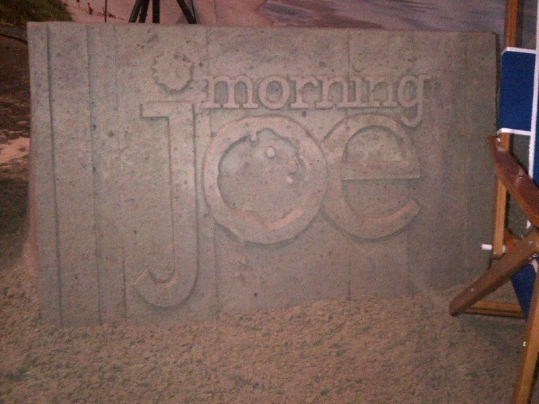 Morning Joe sand castle sculpted by our friends in Myrtle Beach, South Carolina.