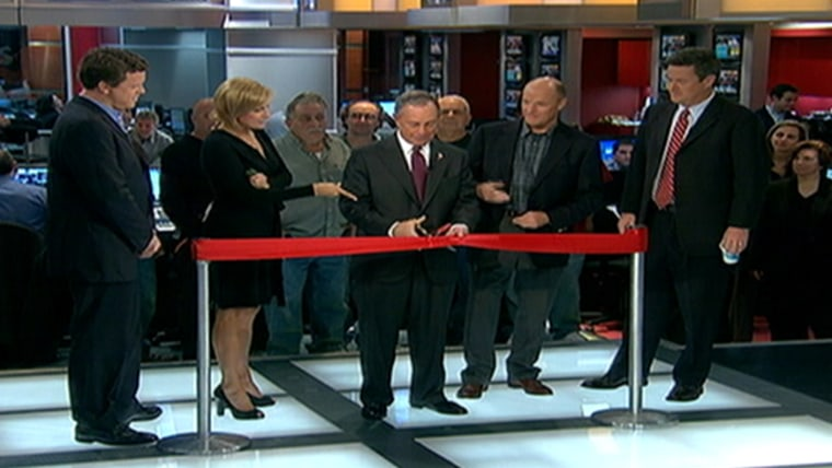 New York City Mayor Michael Bloomberg joins Willie, Mika, msnbc president Phil Griffin and Joe to cut the ribbon on the new set of of Morning Joe at 30 Rock in 2007.