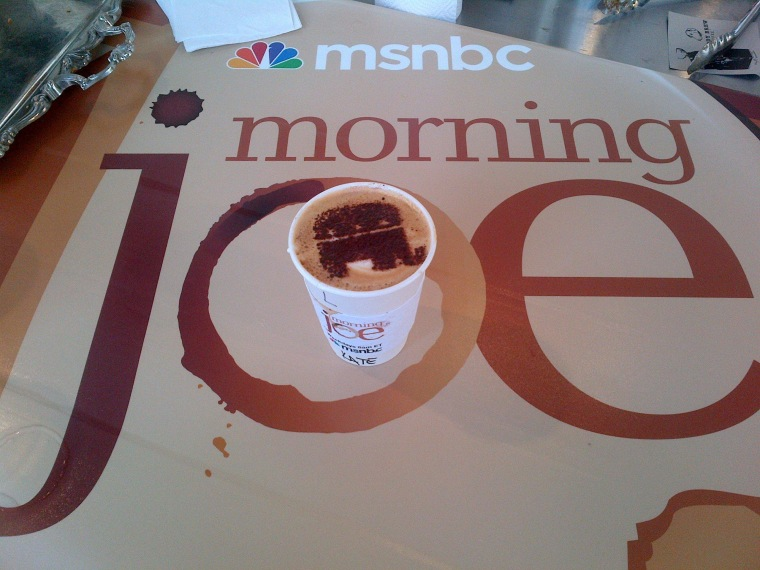 A GOP themed latte from the Morning Joe experience at The Boat House in Channelside.
