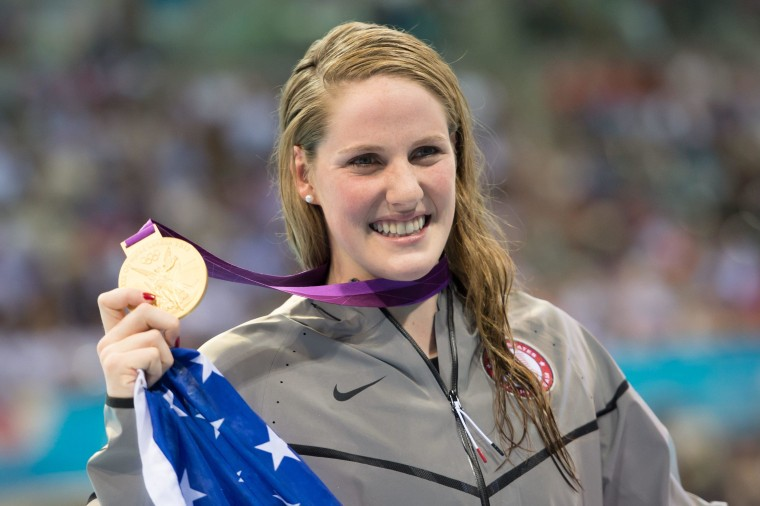 Missy Franklin wins gold in 100m backstroke at the London Olympics.