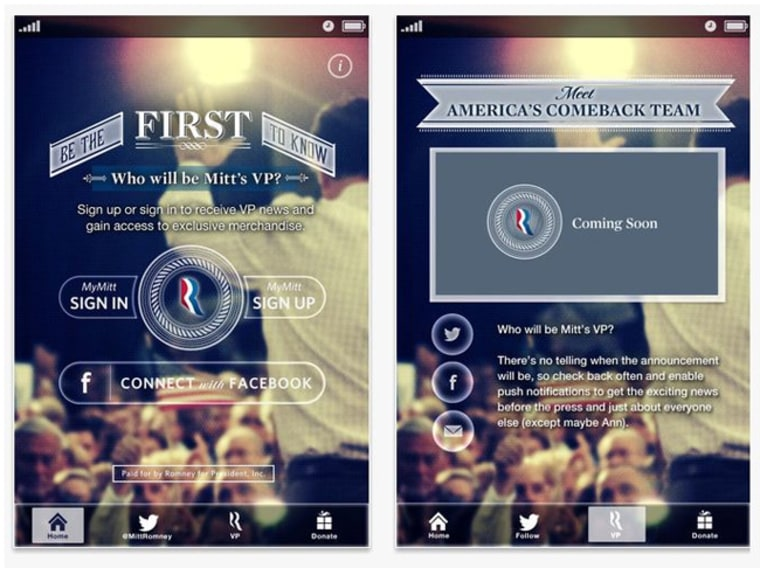 Need a VP? There's an app for that! Romney to make announcement via phone