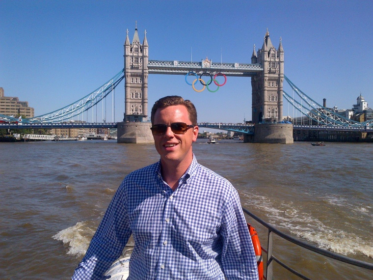 Willie Geist on the Thames River in London.
