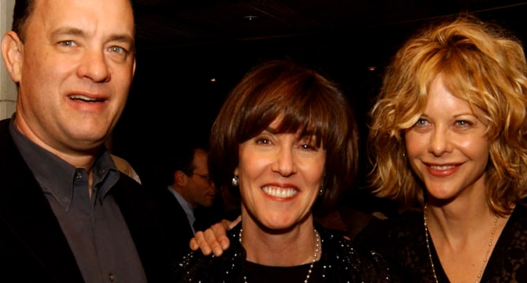 Director/screenwriter Nora Ephron (c.) with actor Tom Hanks (l.) and Meg Ryan (r.)