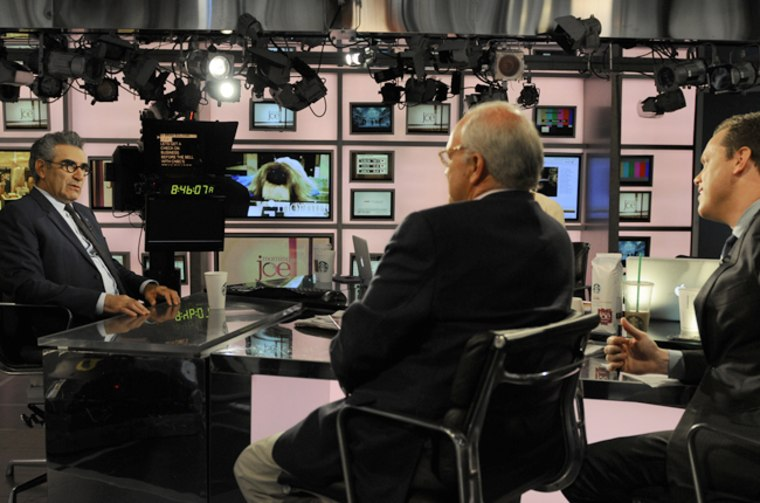 Actor Eugene Levy talks with Mike Barnicle and Willie Geist on the set of Morning Joe