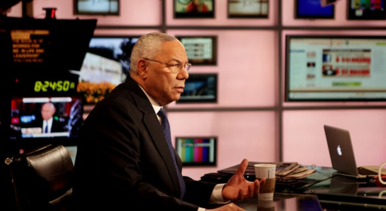 Former Secretary of State Colin Powell on the set of Morning Joe