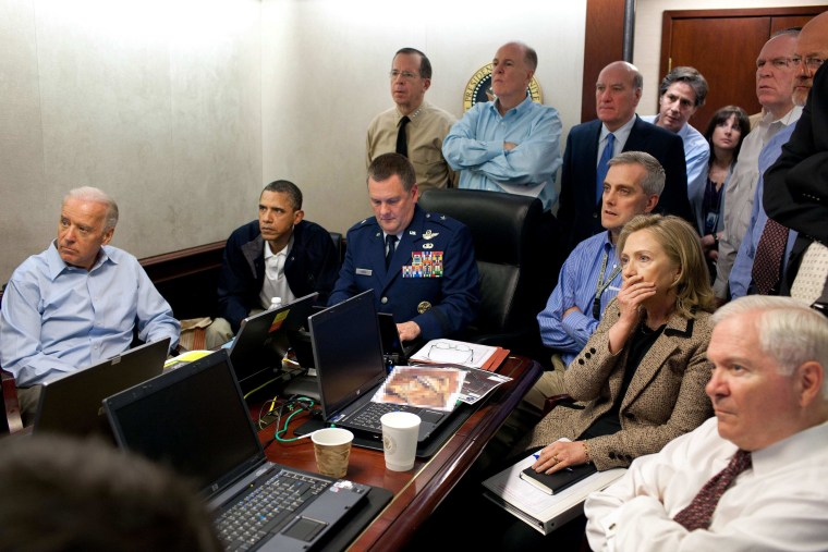 FILE - In this May 1, 2011 image released by the White House and digitally altered by the source to obscure the details of a document on the table, President Barack Obama, second from left, Vice President Joe Biden, left, Secretary of Defense Robert...