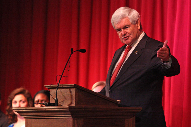 Republican presidential candidate, former House Speaker Newt Gingrich talks with students at Thomas Jefferson Classical Academy in Rutherford, N.C., on Wednesday, April 25, 2012 during his recent campaigning tour of North Carolina.