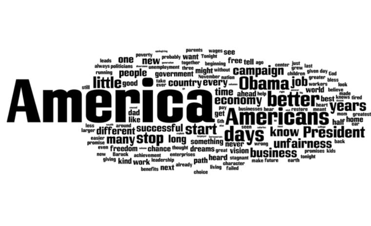 Mitt Romney's Tuesday speech as a word cloud