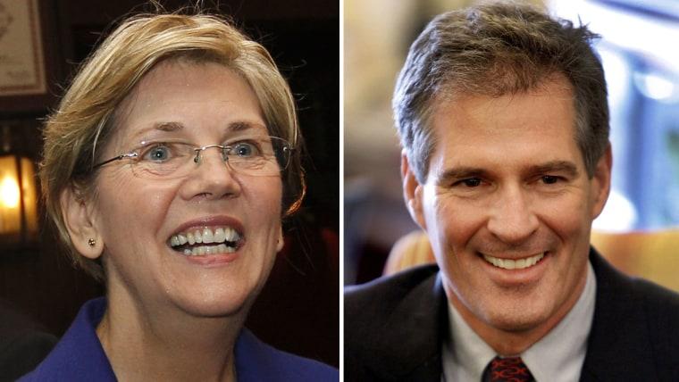Democratic Senate hopeful Elizabeth Warren (l.) and Republican U.S. Sen. Scott Brown (r.)