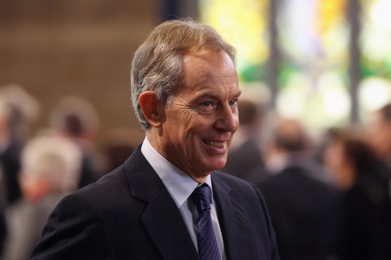 Royal visit to the Houses of Parliament. Former British Prime Minister Tony Blair leaves after Queen Elizabeth II addressed both Houses of Parliament as part of her visit to mark her Diamond Jubilee year. Picture date: Tuesday March 20, 2012.