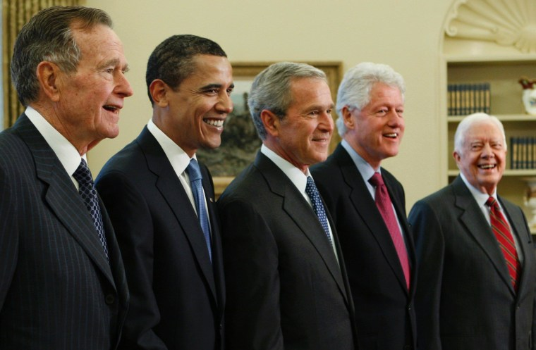 President-elect Barack Obama is welcomed by President George W. Bush for a meeting at the White House in Washington, Wednesday, Jan. 7, 2009, with former presidents, from left, George H.W. Bush, Bill Clinton and Jimmy Carter.