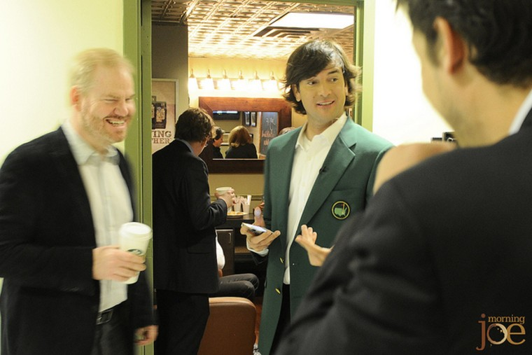 Comedian Jim Gaffigan (l.) and Bubba Watson (r.) in the msnbc hallway at 30 Rock.