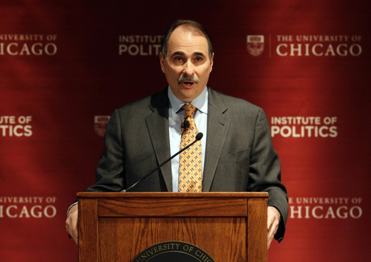 """David Axelrod, former senior advisor to President Barack Obama, answers questions during a panel discussion, \""""2012: The Path to the Presidency\"""", at the University of Chicago in Chicago on Thursday, Jan. 19, 2012."""