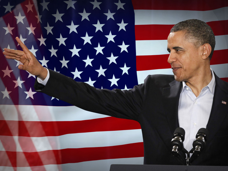 Barack Obama, as U.S. president, on flag texture, partial graphic