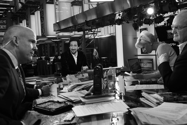 Actor Adrien Brody on the set of Morning Joe