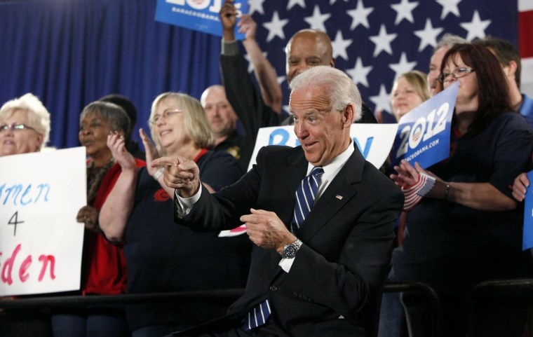 Vice President Joe Biden reacts to a fans prior to speaking at a union hall in Toledo, Ohio, Thursday March 15, 2012.