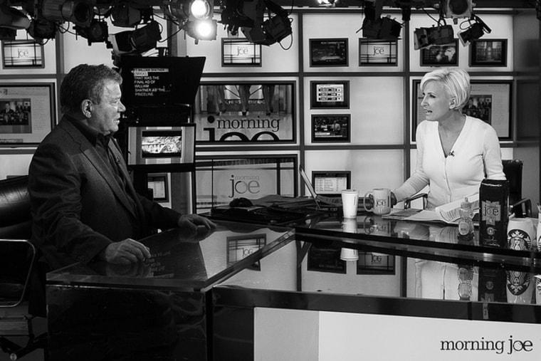 Actor William Shatner talks with Mika Brzezinski on the set of Morning Joe