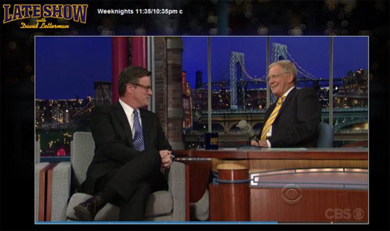 Joe drops by Letterman on Thursday, February 23, 2012
