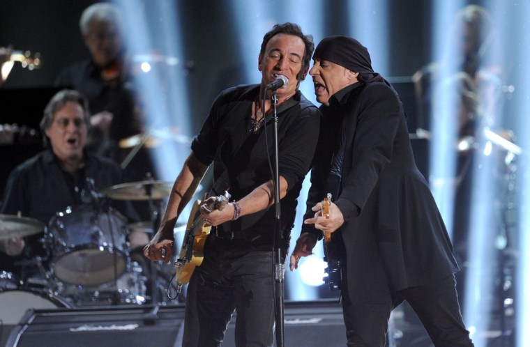 Bruce Springsteen and Steven Van Zandt perform onstage at the 54th Annual GRAMMY Awards held at Staples Center on February 12, 2012 in Los Angeles, California.