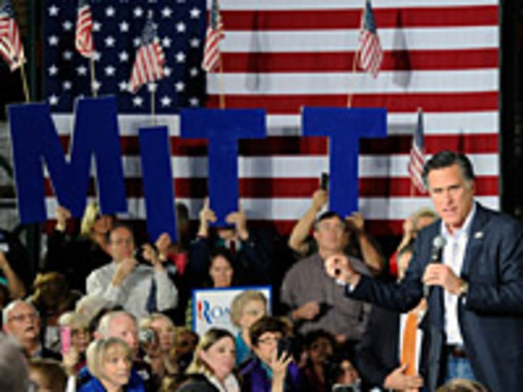 Mitt Romney speaks during a campaign rally at Brady Industries February 1, 2012 in Las Vegas, Nevada.