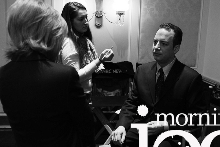 Republican National Committee chairman Reince Priebus and NBC News' Andrea Mitchell chat in the green room at the Mills House Hotel in Charleston, South Carolina.