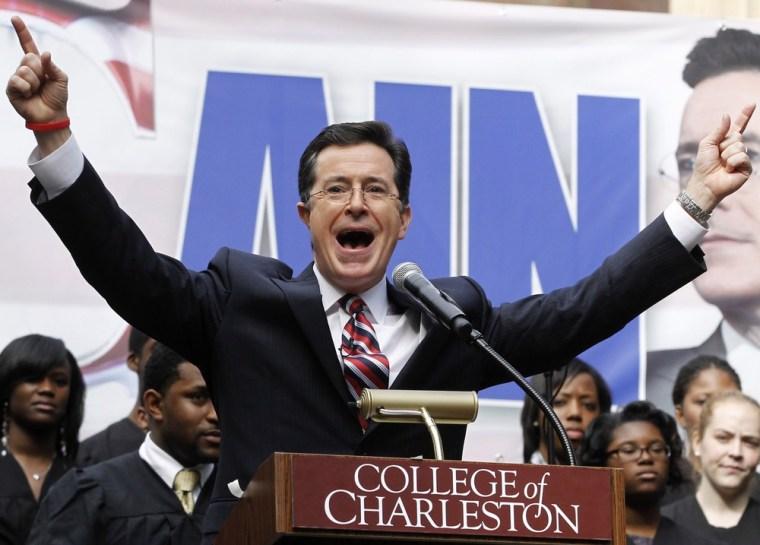 Stephen Colbert rallies the crowd.