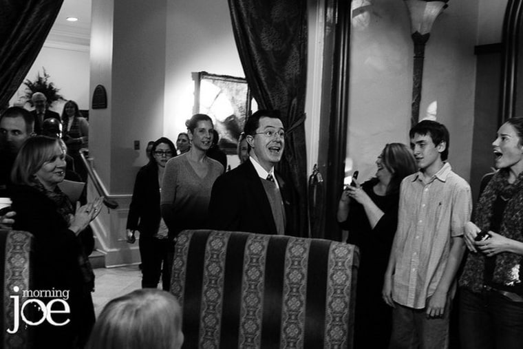 Stephen Colbert makes his entrance at the Mills House