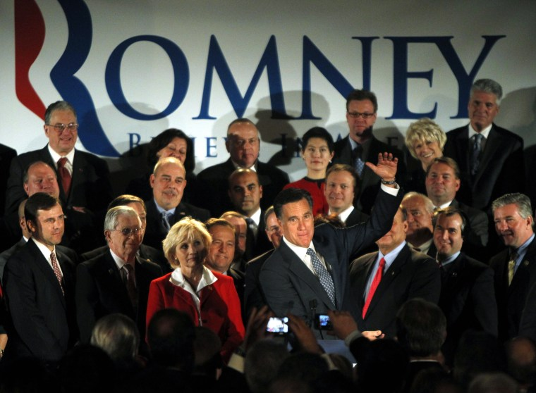 Republican presidential candidate former Massachusetts Gov. Mitt Romney, gestures during a speech at a fundraising event in Parsippany, N.J., Monday, Dec. 12, 2011.