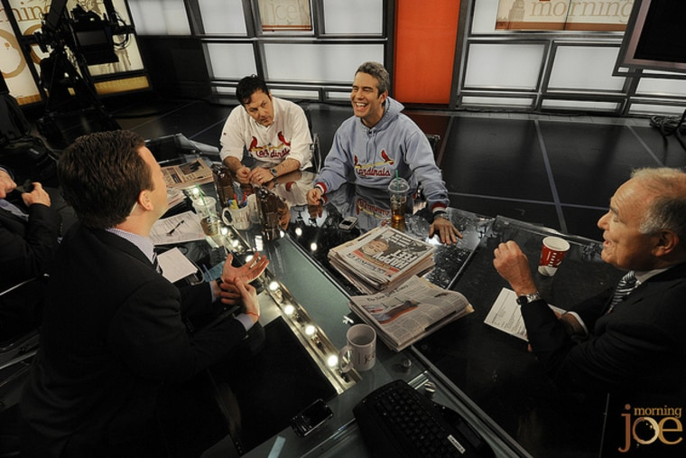 Vice president prime-time programming for msnbc, Bill Wolff, and Bravo TV's Andy Cohen on the set of Morning Joe