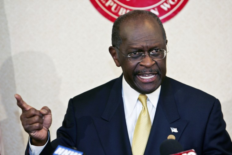 Republican presidential candidate Herman Cain speaks, Saturday, Oct. 29, 2011 in Huntsville, Ala. Presidential candidate Herman Cain is full of confidence about his 2012 prospects. It's been weeks since he's set foot in first-voting Iowa or New...