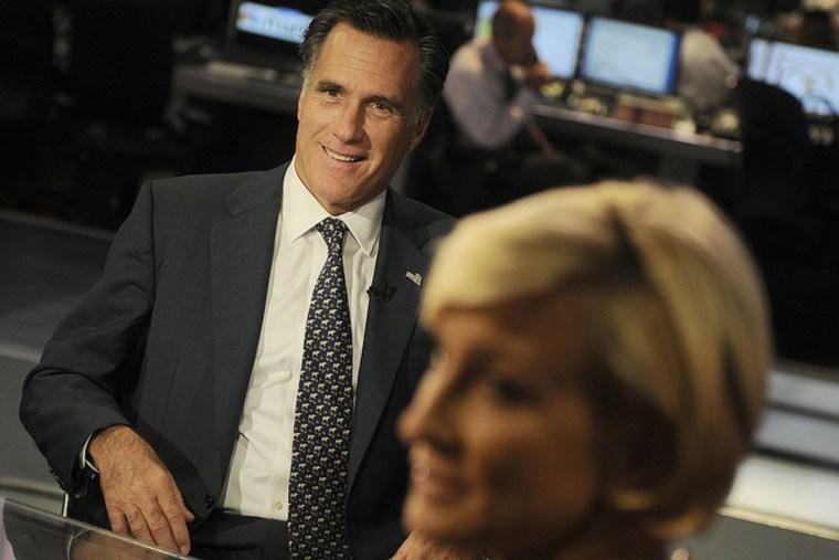 Fmr. Gov. Mitt Romney, R-Mass., and 2012 GOP presidential candidate Mitt Romney on the set of Morning Joe