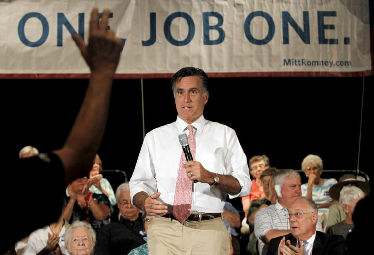 Republican presidential candidate former Massachusetts Gov. Mitt Romney takes a question as he holds a town hall meeting Wednesday, Sept. 14, 2011, in Sun Lakes, Ariz.
