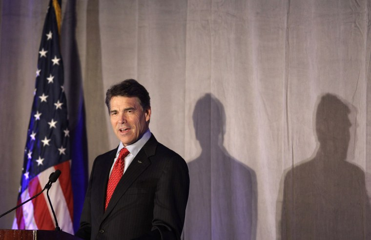 Republican presidential candidate Texas Gov. Rick Perry speaks at the Pioneer Institute Better Government Competition Awards dinner in Boston, Tuesday night, Sept. 13, 2011.