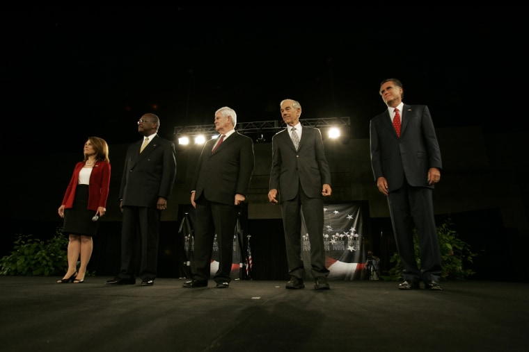 Republican presidential candidates from left, Rep. Michelle Bachmann, R-Minn., businessman Herman Cain, former Rep. Newt Gingrich, Rep. Ron Paul, R-Texas, and former Massachusetts Gov. Mitt Romney are seen on stage at the American Principles Project...