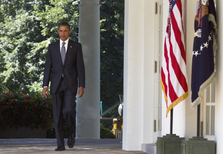 President Barack Obama walks to the Rose Garden of the White House in Washington, Wednesday, Aug. 31, 2011.