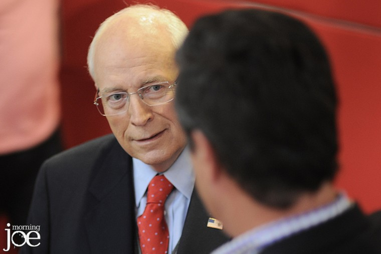 Former VP Dick Cheney talks with Joe Scarborough on the set of Morning Joe