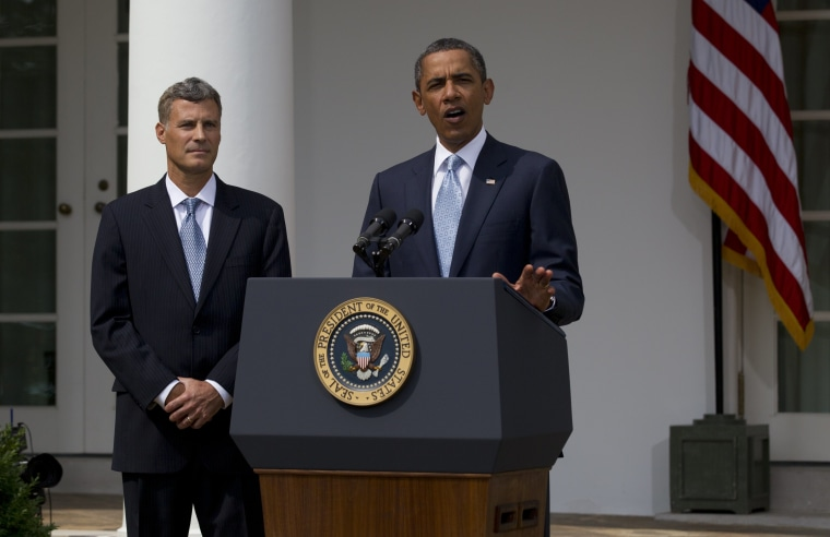 President Barack Obama announces his selection of Alan Krueger as chairman of the Council of Economic Advisers, Monday, Aug. 29, 2011, in the Rose Garden of the White House in Washington.
