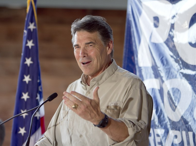 Republican presidential contender, Texas Gov. Rick Perry, speaks at the Polk County GOP summer picnic event held at the Iowa State Fairgrounds in Des Moines, Iowa on Saturday, Aug. 27, 2011.