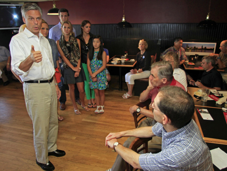 Republican presidential candidate, former Utah Gov. Jon Huntsman, Jr. speaks during a campaign stop at the Barley House restaurant, Friday, Aug. 12, 2011 in Concord, N.H.