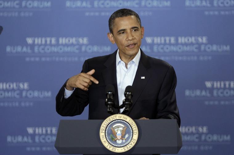 President Barack Obama speaks during the Rural Economic Forum, Tuesday, Aug. 16, 2011, at Northeast Iowa Community College in Peosta, Iowa.