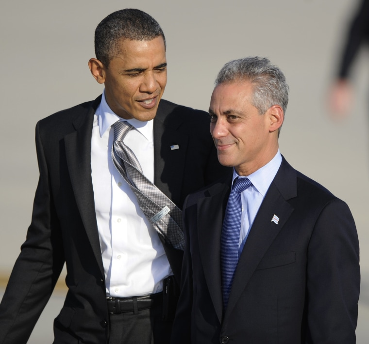 President Barack Obama left, talks with Chicago Mayor Rahm Emanuel right, after arriving at O'Hare International Airport in Chicago, Wednesday, Aug. 3, 2011.