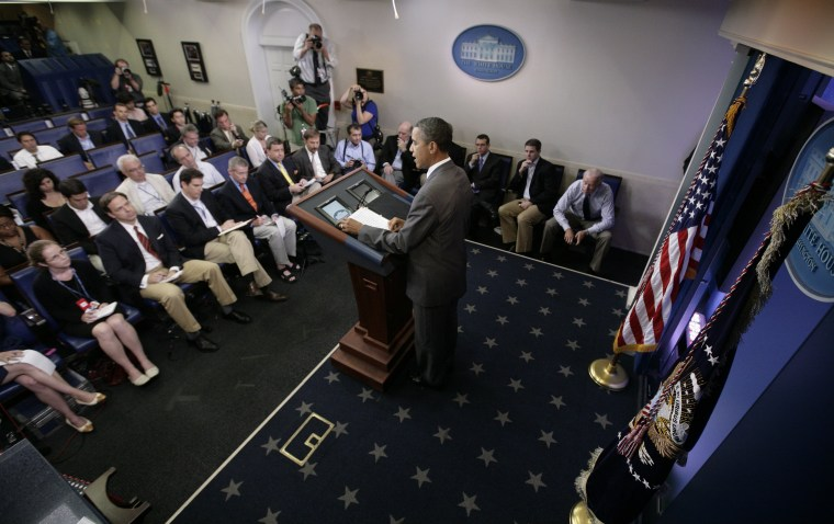 President Barack Obama speaks from the White House briefing room, Sunday, July 31, 2011, in Washington, about a deal being reached to raise the debt limit.