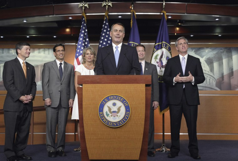 House Speaker John Boehner of Ohio, at podium joined by fellow Republican leaders, talk to reporters about the debt crisis showdown during a news conference on Capitol Hill in Washington, Thursday, July 28, 2011. From left are: Rep. Jeb Hensarling, R...