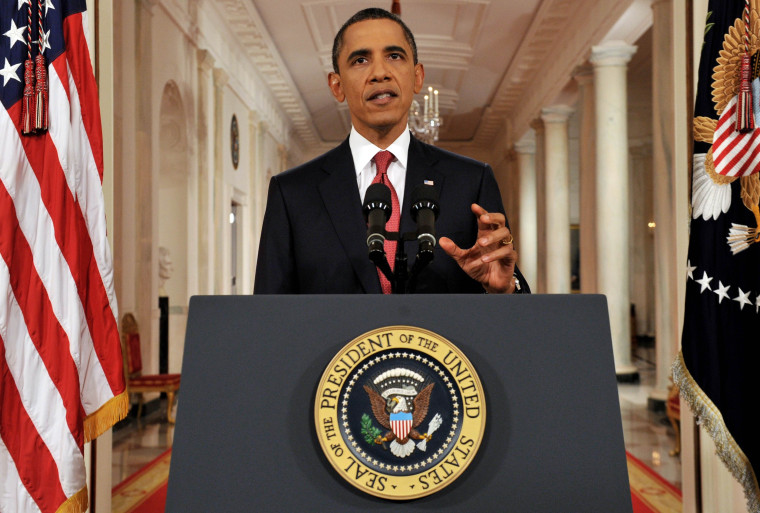 President Barack Obama addresses the nation from the East Room of the White House in Washington, Monday, July 25, 2011, on the approaching debt limit deadline.