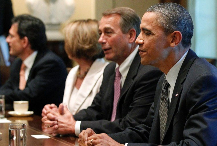 President Barack Obama sits with House Speaker John Boehner of Ohio, House Minority Leader Nancy Pelosi of California, House Majority Leader Eric Cantor of Virginia, as he meets with Republican and Democratic leaders regarding the debt ceiling in the...
